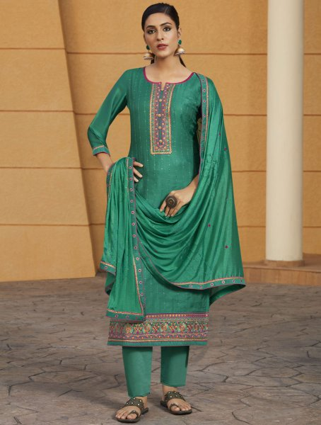 Persian Green Satin Embroidered Party Pant Kameez