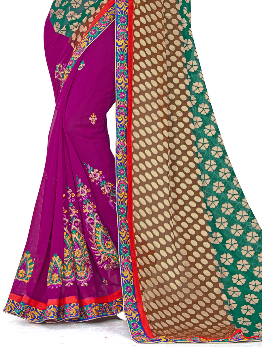 Persian Green and Magenta Pink Faux Georgette Embroidered Party Saree