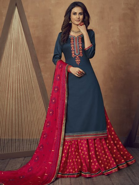 Yale Blue Cotton Silk Embroidered Party Lehenga with Suit