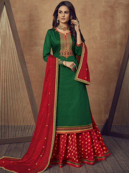 Dark Green Cotton Silk Embroidered Party Lehenga with Suit