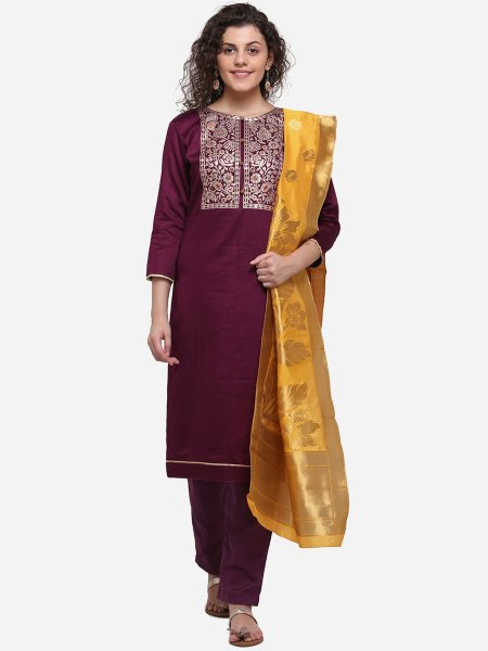 Byzantium Purple Silk Embroidered Party Pant Kameez