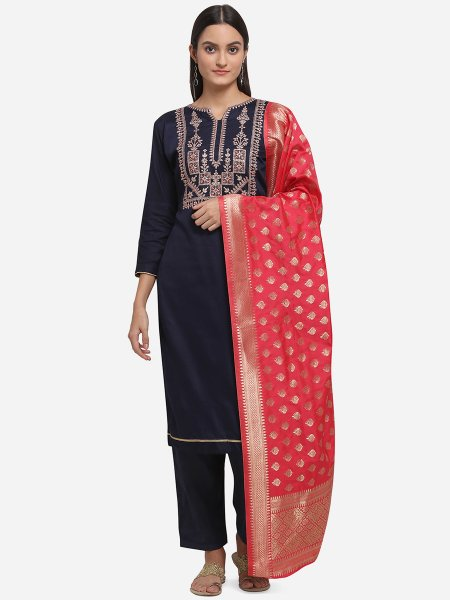 Navy Blue Silk Embroidered Party Pant Kameez