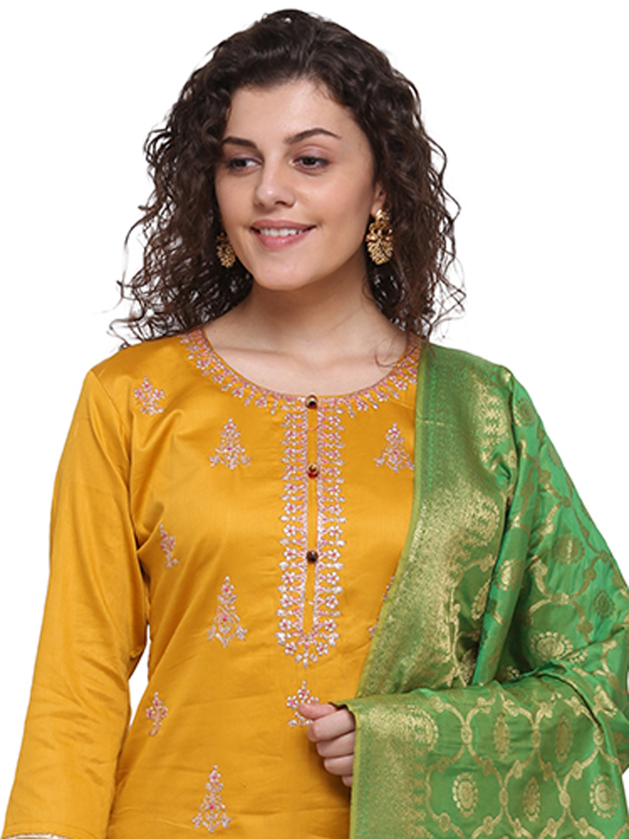 Mustard Yellow Silk Embroidered Party Pant Kameez