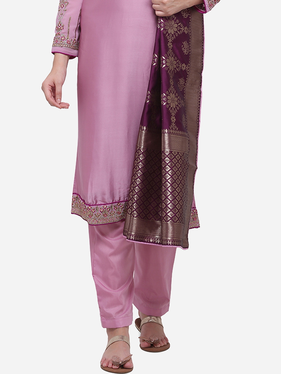 Lavender Pink Satin Georgette Embroidered Party Pant Kameez