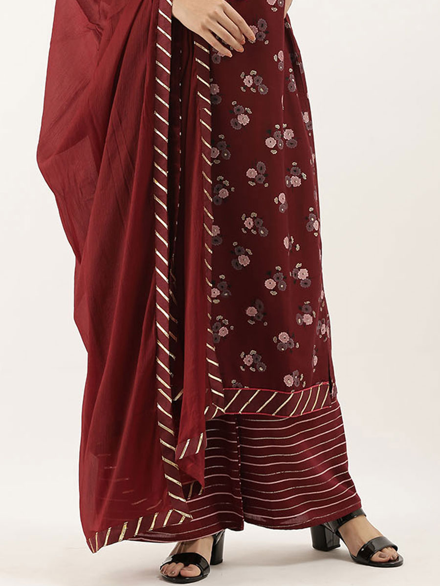Maroon Chinnon Embroidered Party Palazzo Pant Kameez