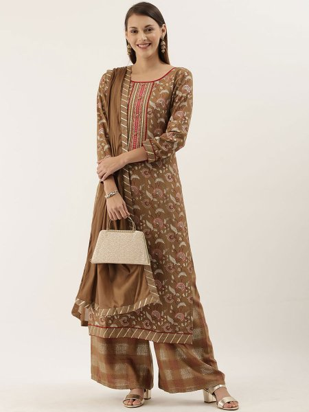 Fallow Brown Chinnon Embroidered Party Palazzo Pant Kameez