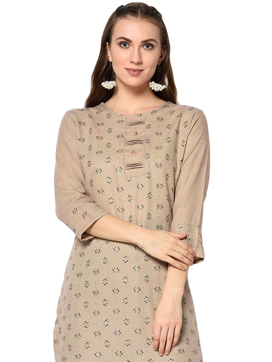 Beige Yellow Cotton Printed Party Kurti