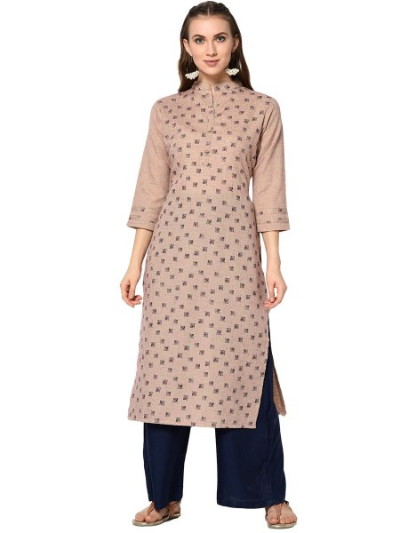 Cream Yellow Cotton Printed Party Kurti