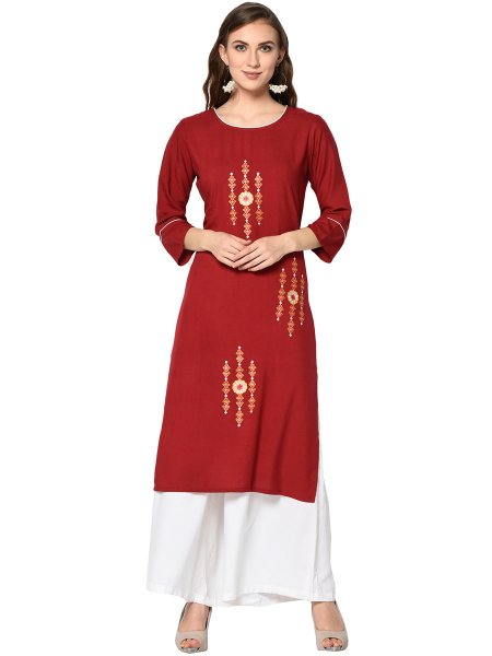 Venetian Red Rayon Embroidered Party Kurti