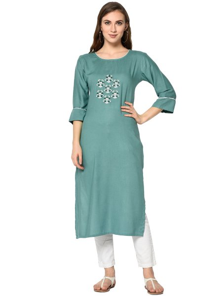 Light Viridian Green Rayon Embroidered Party Kurti