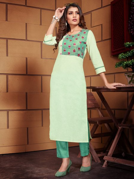 Tea Green Linen Embroidered Party Kurti