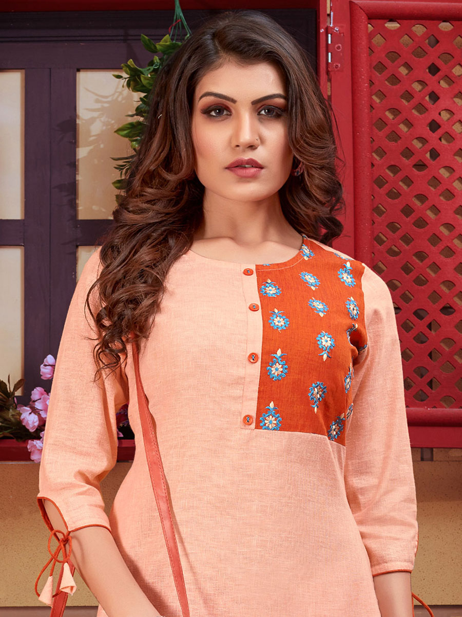 Apricot Orange Linen Embroidered Party Kurti