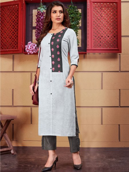Light Gray Linen Embroidered Party Kurti
