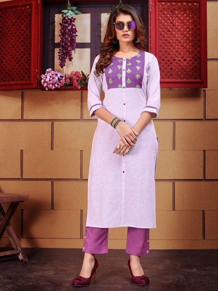 Light Purple Linen Embroidered Party Kurti