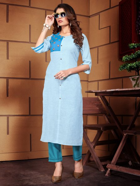 Sky Blue Linen Embroidered Party Kurti