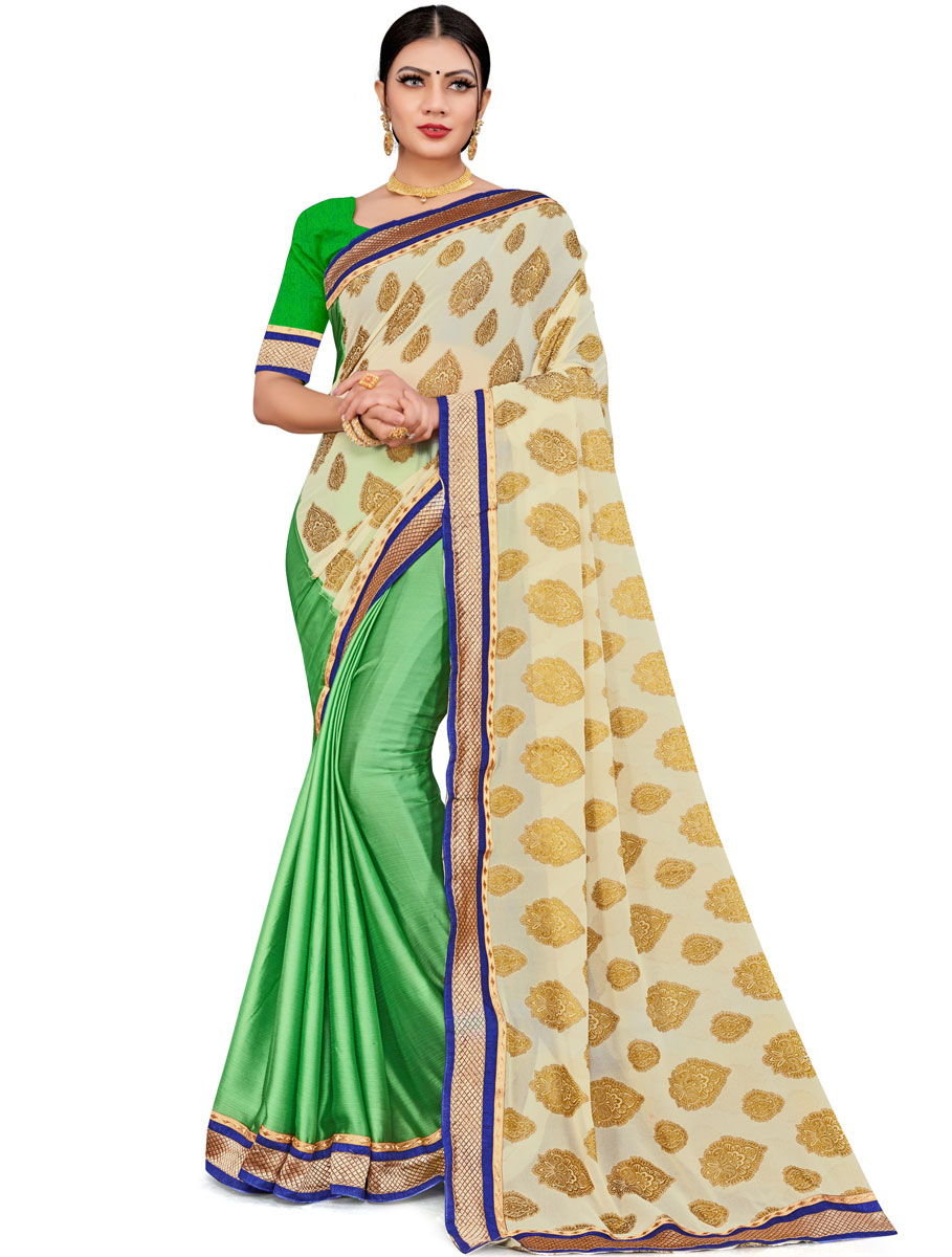 Cream Yellow and Parrot Green Faux Georgette Printed Party Saree