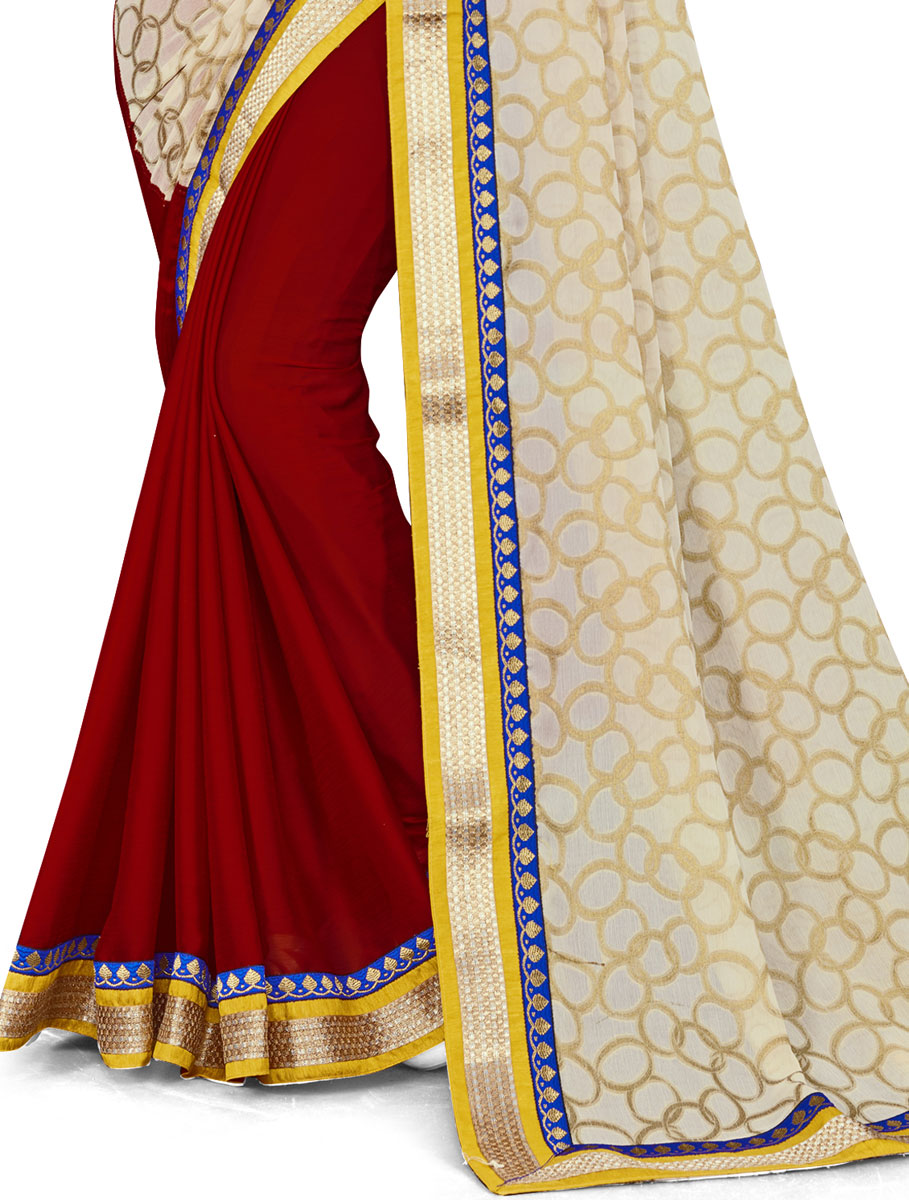 Cream Yellow and Maroon Faux Georgette Printed Party Saree