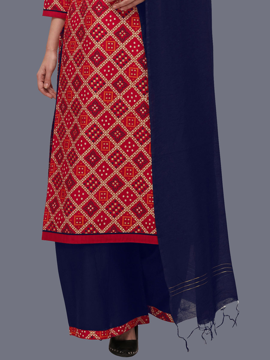 Rose Madder Red Cotton Printed Festival Palazzo Pant Kameez