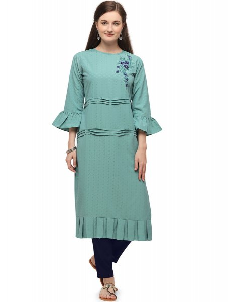 Light Jungle Green Cotton Embroidered Party Kurti
