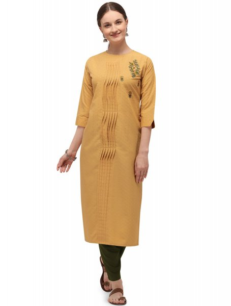 Jonquil Yellow Cotton Embroidered Party Kurti