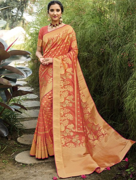 Coral Orange Silk Handwoven Festival Saree