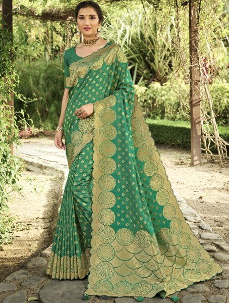 Sea Green Silk Handwoven Festival Saree