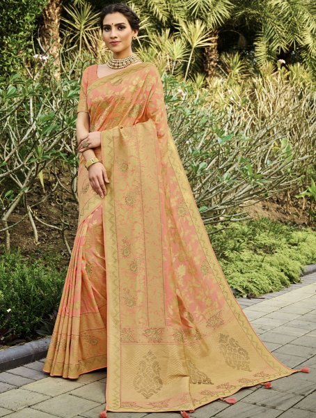 Coral Pink Silk Handwoven Festival Saree