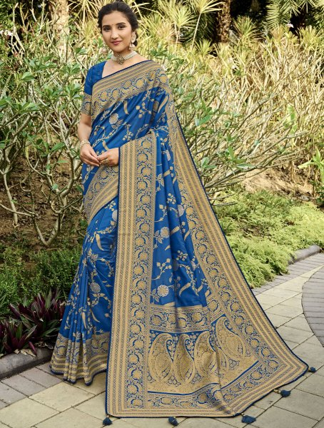 Yale Blue Silk Handwoven Festival Saree
