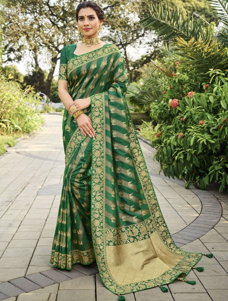 Hunter Green Silk Handwoven Festival Saree
