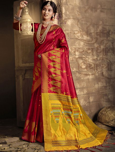 Dark Pink Silk Handwoven Festival Saree