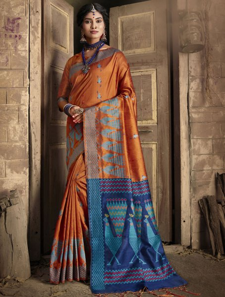 Burnt Orange Silk Handwoven Festival Saree