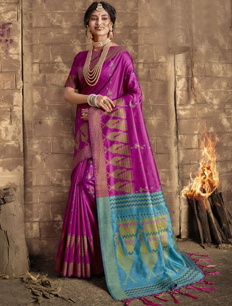 Hot Magenta Pink Silk Handwoven Festival Saree