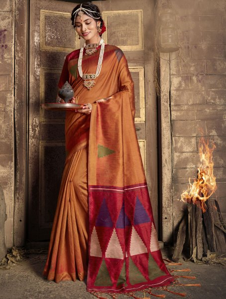 Copper Brown Silk Handwoven Festival Saree