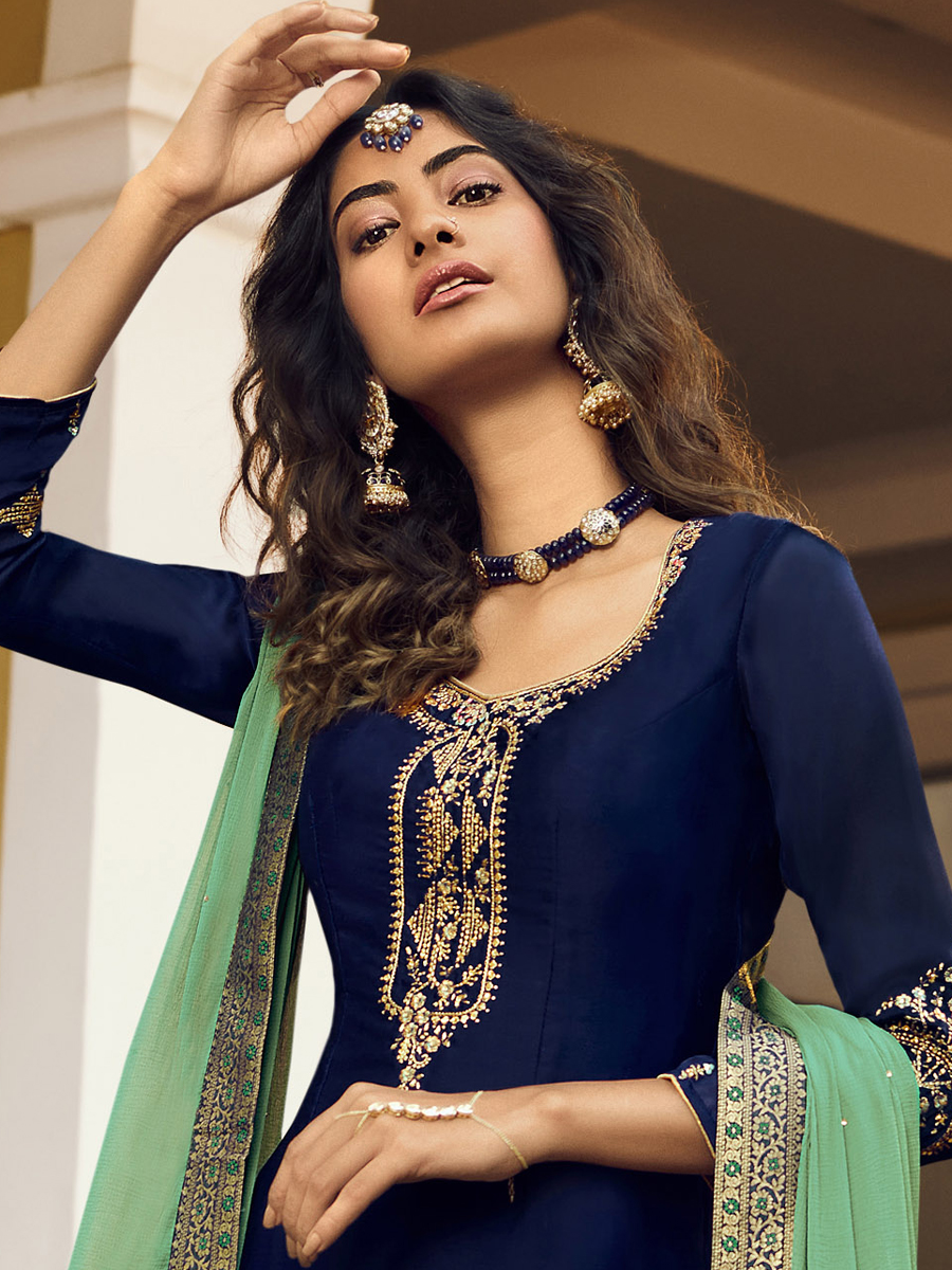 Navy Blue Satin Georgette Embroidered Festival Palazzo Pant Kameez