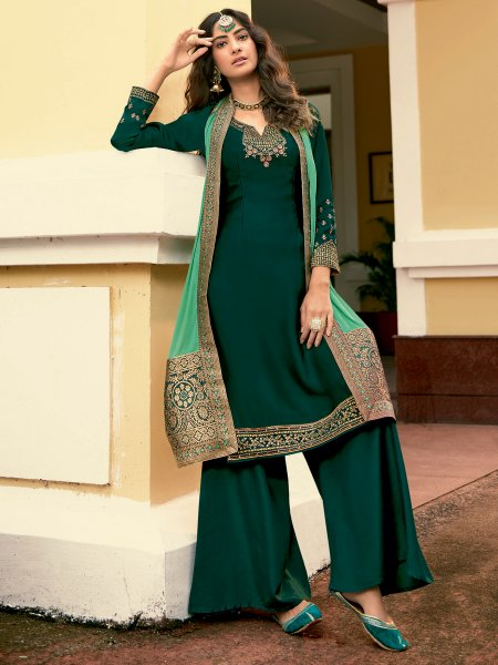 Hunter Green Satin Georgette Embroidered Festival Palazzo Pant Kameez