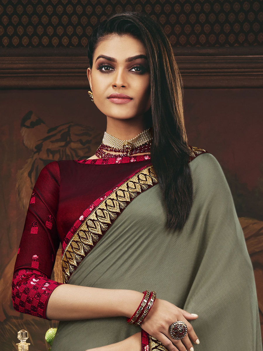 Dark Gray and Maroon Silk Embroidered Festival Saree