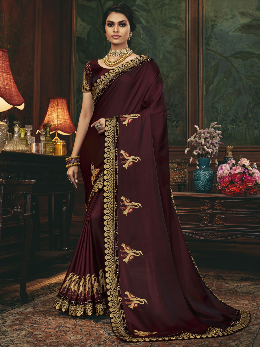Seal Brown Silk Embroidered Festival Saree