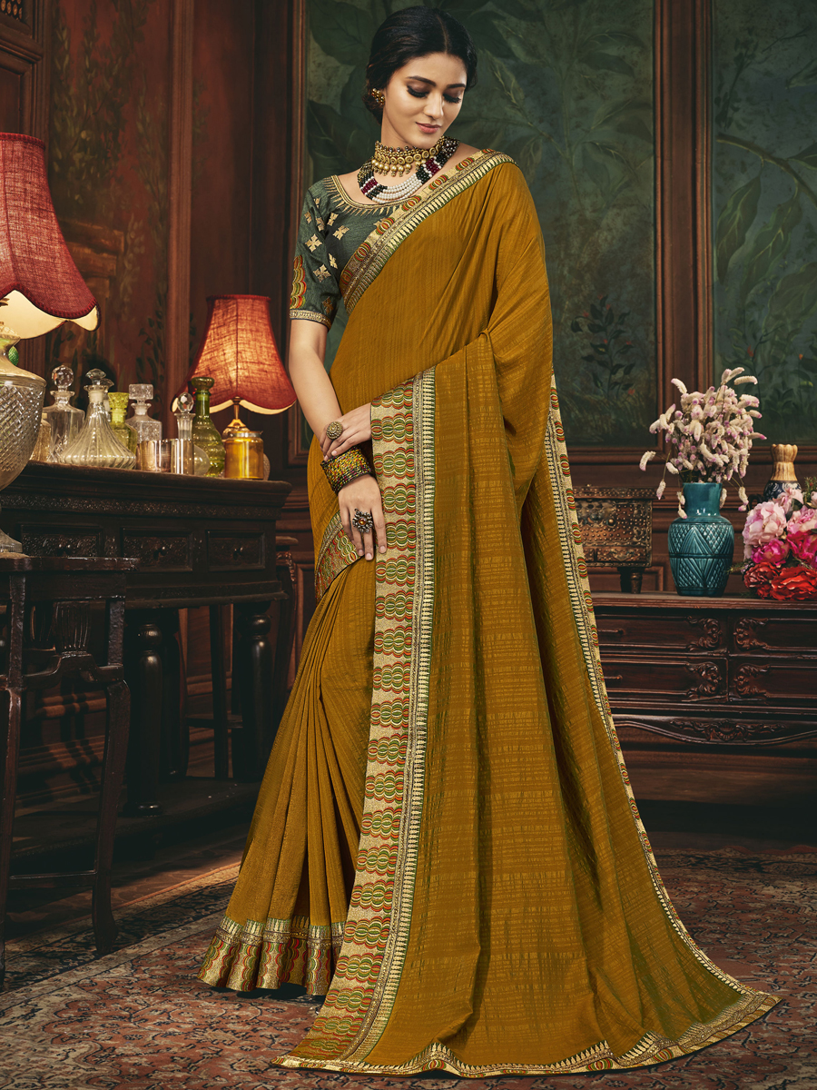 Copper Brown Silk Embroidered Festival Saree