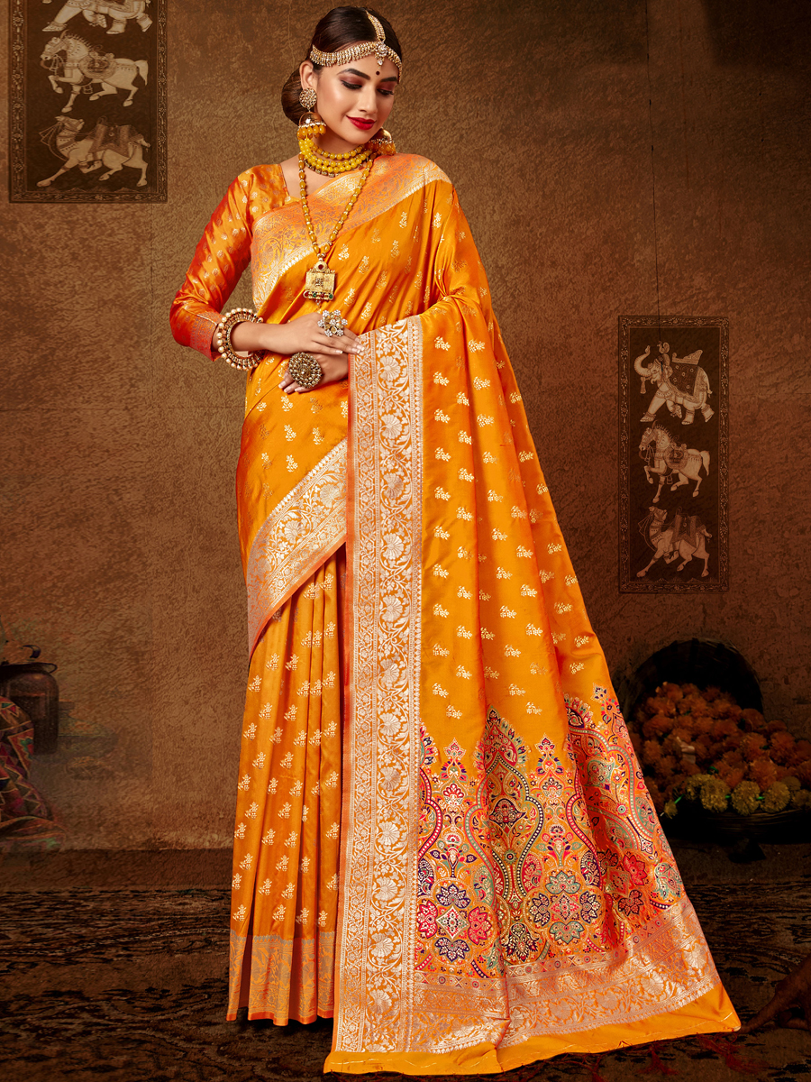 Pumpkin Orange Silk Handwoven Festival Saree