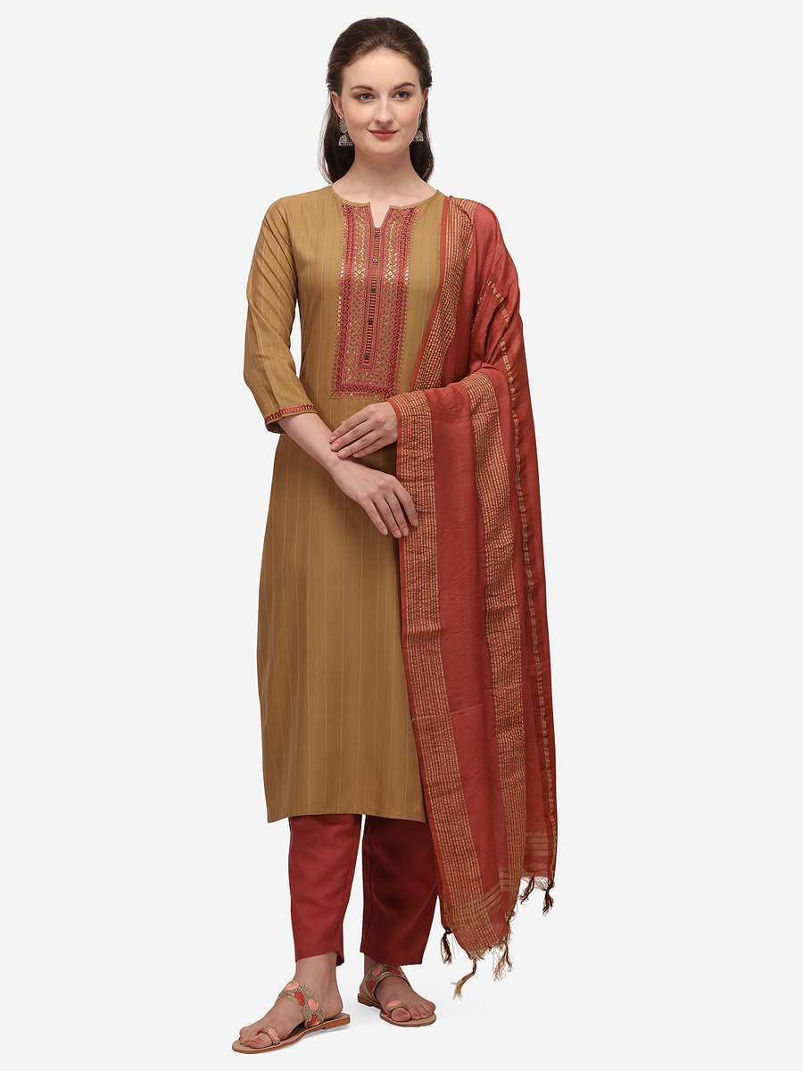 Beige Brown Blend Cotton Embroidered Festival Salwar Pant Kameez