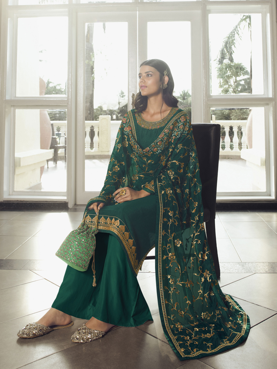 Green Chinon Embroidered Festival Palazzo Pant Kameez
