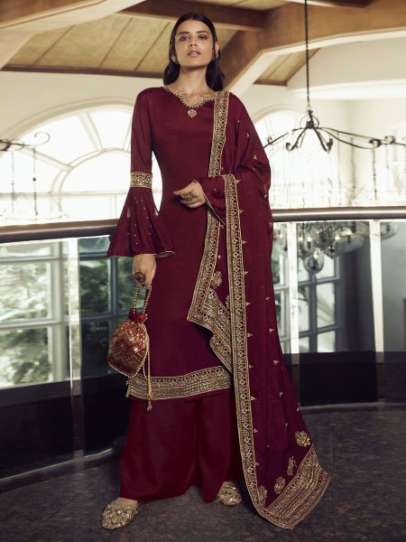 Maroon Chinon Embroidered Festival Palazzo Pant Kameez