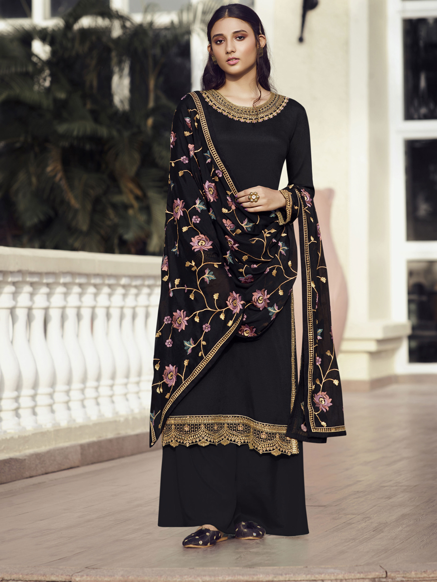 Black Chinon Embroidered Festival Palazzo Pant Kameez