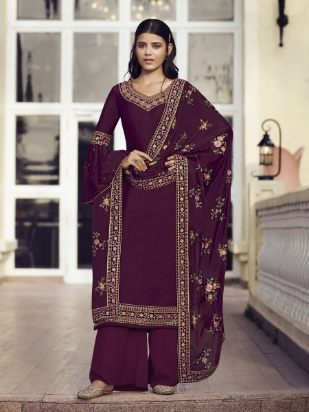 Wine Chinon Embroidered Festival Palazzo Pant Kameez