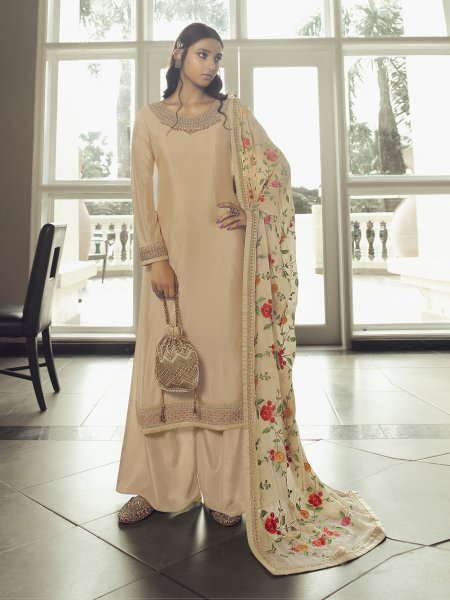 Cream Yellow Chinon Embroidered Festival Palazzo Pant Kameez