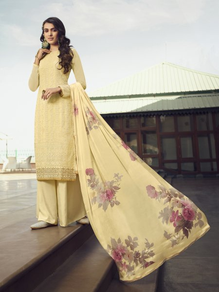 Cream Yellow Faux Georgette Embroidered Festival Palazzo Pant Kameez