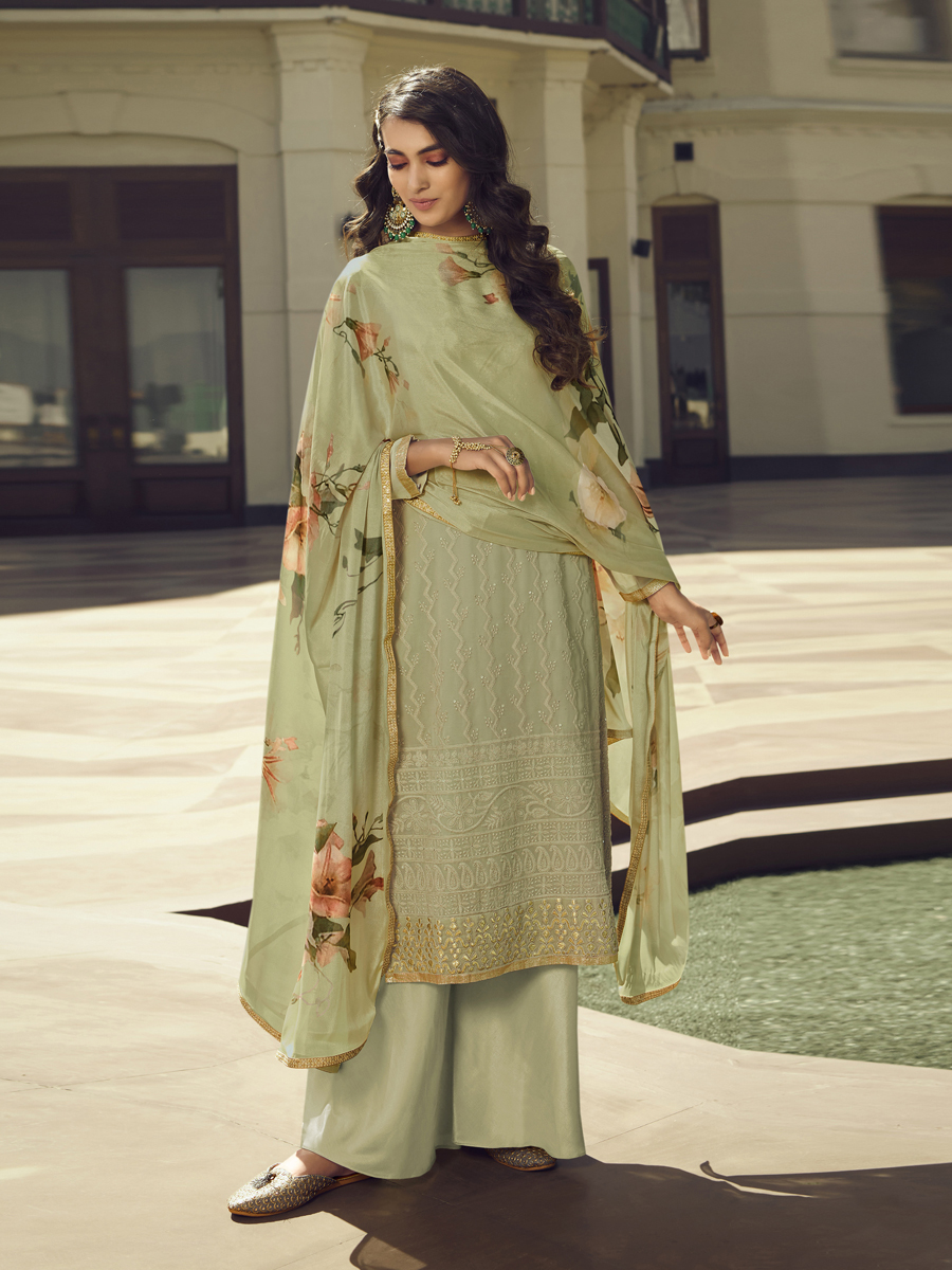 Light Olive Green Faux Georgette Embroidered Festival Palazzo Pant Kameez