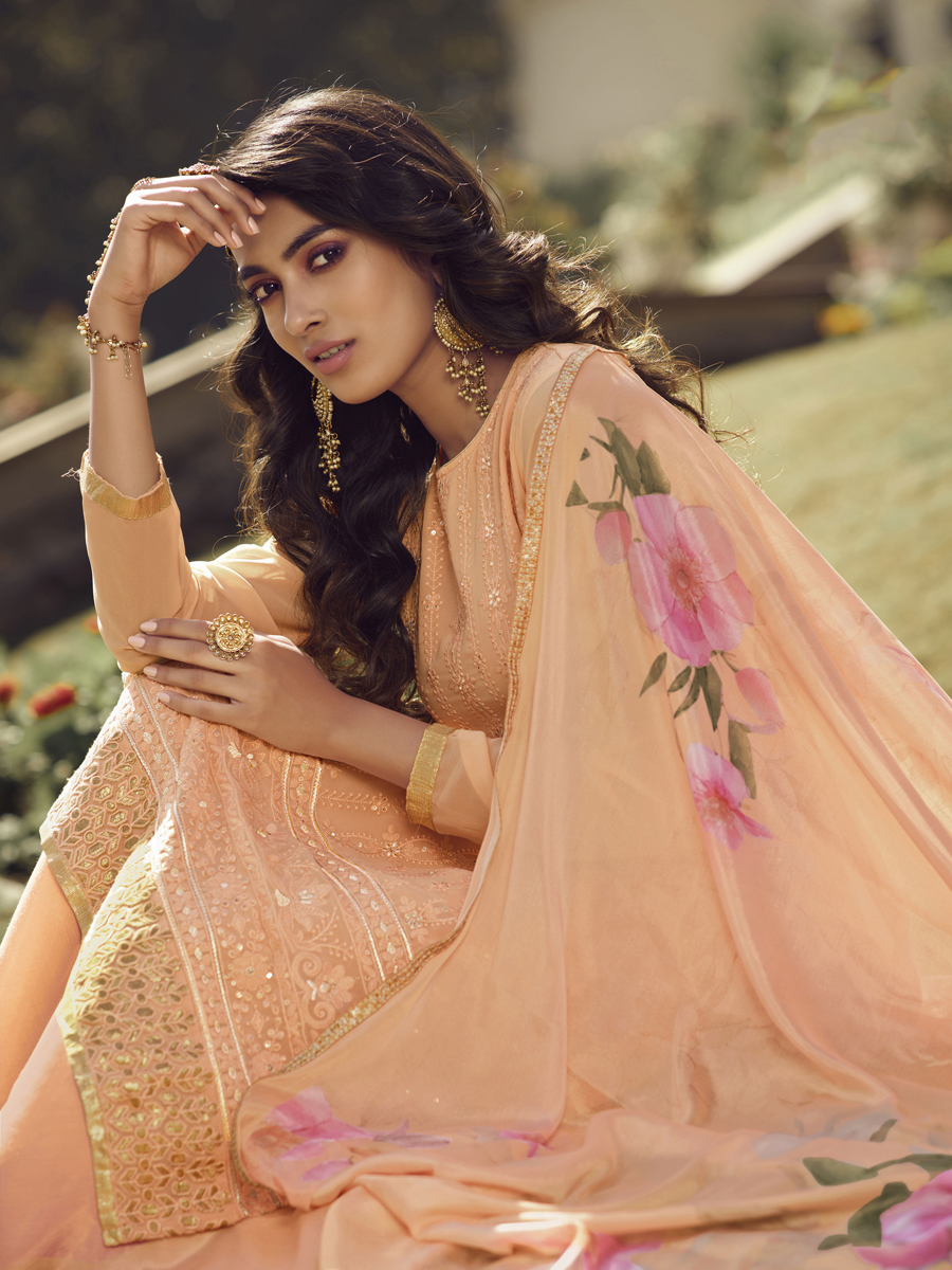 Peach Orange Faux Georgette Embroidered Festival Palazzo Pant Kameez