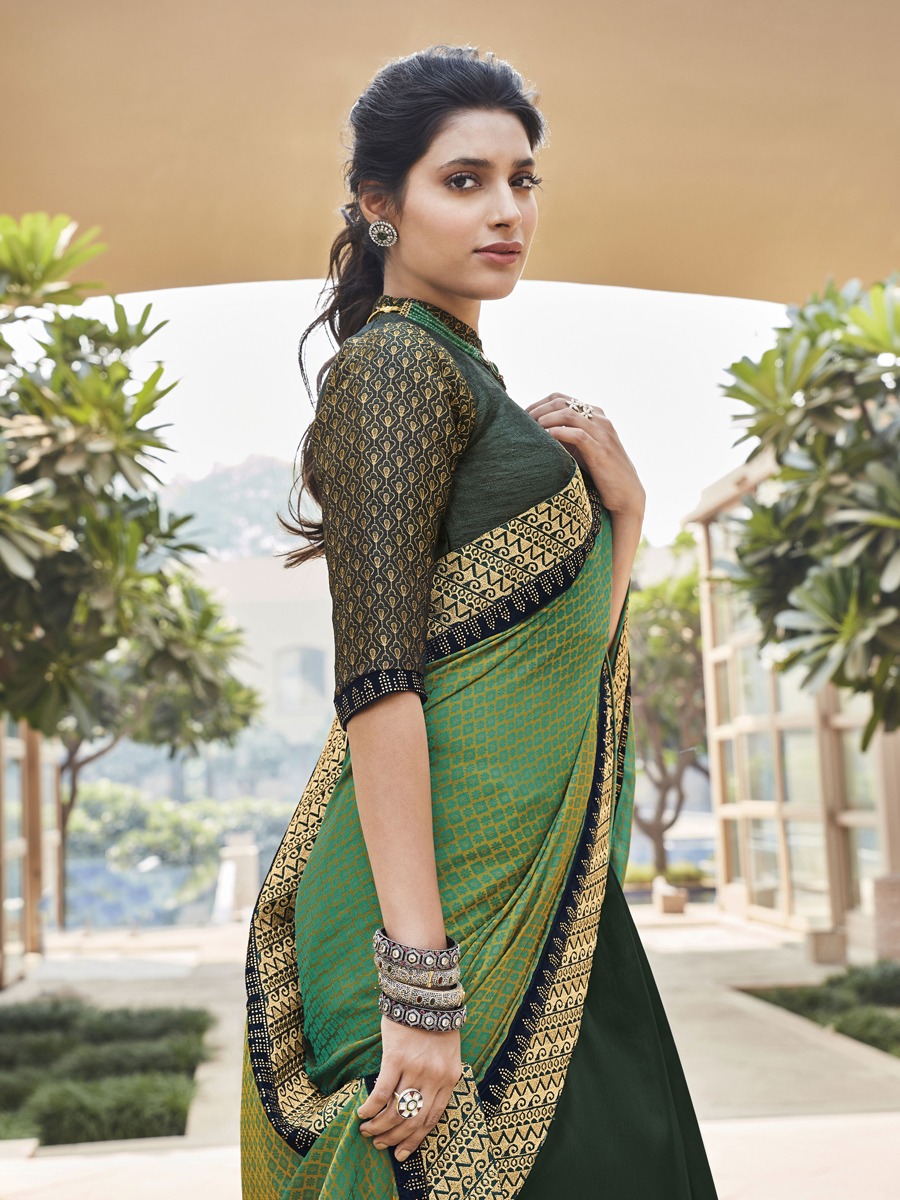 Green Silk Embroidered Festival Saree