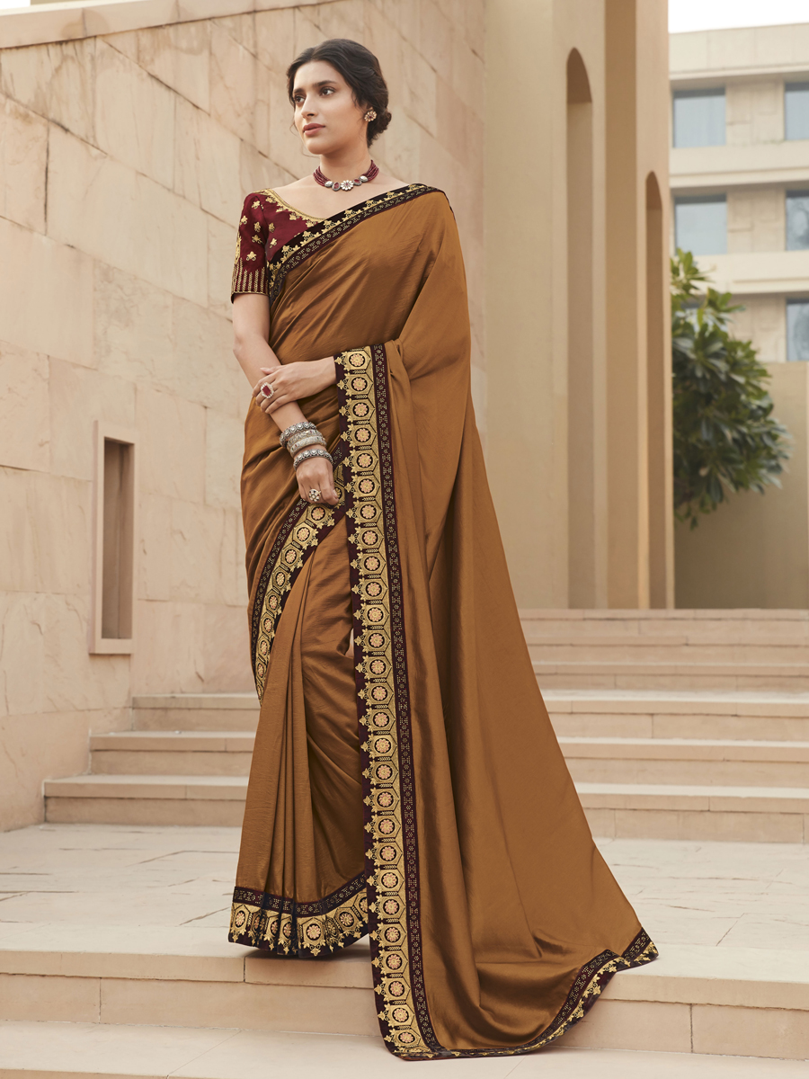Brown Silk Embroidered Festival Saree
